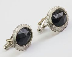 Vintage Cufflinks Black Jewel Front in Silver by CuffsandClips, $19.60