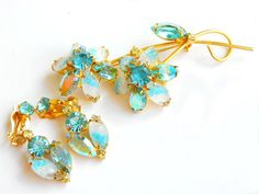 Juliana Aqua Blue Art Glass Flower Brooch And Earrings DeLizza and Elster High Fashion Vintage Collectable Jewelry Verified Pin Earrings by JewelryQuestDesign, $70.99