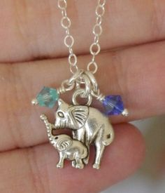 Elephant Necklace, Birthstone Necklace, Mother Baby Necklace, Mommy Baby Jewelry, Cute Gift for New Mothers, Elephant Necklace, Birthstone