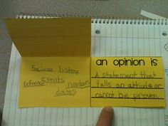 fact and opinion foldable