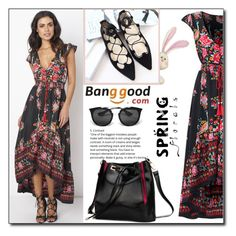 """""""Floral Dress by Banggood 11/20"""" by esma178 ❤ liked on Polyvore featuring Prada"""