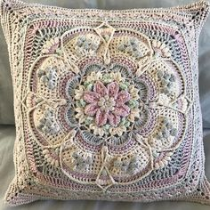 Liesl is our October Maker Of The Month winner with this beautiful entry. Made with Eco-Cotton, she used the… Crochet Cushion Cover, Crochet Cushions, Crochet Quilt, Crochet Pillow, Crochet Afghans, Crochet Home, Crochet Blanket Patterns, Crochet Crafts, Crochet Stitch