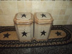 Primitive Tin Canisters Set of 2  Crackle Tan & Black Stars ~ Country Decor #NaivePrimitive