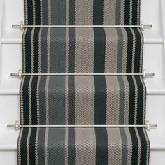 Designers and Makers of unique stripe runners, rugs and fabrics in natural fibres. Simply Luxury for Modern Living Painted Staircases, Painted Stairs, Wooden Stairs, Stair Photo Walls, Deck Stair Lights, Carpet Staircase, Staircase Runner, Stair Runners, Iron Stair Railing