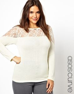 Image 1 of ASOS CURVE Exclusive Sweater With Lace Inserts