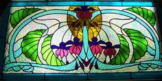 Stained Glass Fuchsia, Floral Window Panel, Handcrafted, Leaded Art Glass, Fuschia, Art Deco.