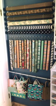 wrapping station for small spaces. This is behind my craft room door. -Gift wrapping station for small spaces. This is behind my craft room door. - Home office décor ideas Sewing Room Storage, Sewing Room Organization, Small Space Organization, Craft Room Storage, Sewing Rooms, Craft Rooms, Small Room Storage Ideas, Storage Organization, Craft Room Closet