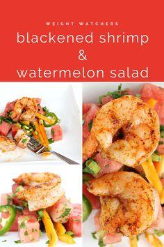 WW Grilled Blackened Shrimp with Spicy Watermelon Salad | This Grilled Blackened Shrimp and Spicy Watermelon Salad is the perfect balance of sweet and spicy. Ready in about 15 minutes and healthy, you will love this easy recipe. Plus it's ZERO Pints on WW Blue Plan! #easyrecipes #dinnerrecipes #shrimprecipes #healthy #ww #weightwatchers Shrimp Recipes, Wine Recipes, Blackened Shrimp, Watermelon Salad, Bamboo Skewers, Grilled Shrimp, Stuffed Sweet Peppers, Sweet And Spicy, Grilling