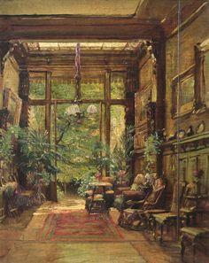 Interieur einer Villa mit Blick auf den Garten, Marie Dücker