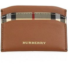 Burberry Leather Credit Card Case ($185) ❤ liked on Polyvore featuring bags, wallets, apparel & accessories, tan, burberry, brown leather wallet, genuine leather credit card holder wallet, card holder wallet and tan leather wallet