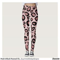 4dee56bb0b8 Pink  amp  Black Painted Cheetah Leopard Print Spots Leggings   Beautiful   Yoga Pants -