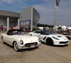 1953 Corvette with a 2015 Corvette at the Corvette Museum. 2015 Corvette Z06, Corvette History, Chevy, Chevrolet, Drive A, The Neighbourhood, Museum, Instagram Posts