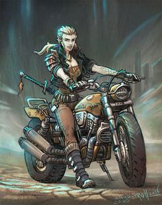 Biker elf girl by gugu-troll Character Portraits, Character Art, Character Design, Character Ideas, Cyberpunk Rpg, Cyberpunk Character, Shadowrun Rpg, Girl Elf, Cool Monsters