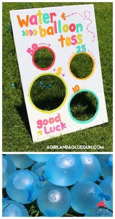 Water balloon toss-fun summer game - A girl and a glue gun, This post may contain affiliate links. This is a fun game I whipped up for a little party! Kid's love water balloons…but if you don't give them someth. Water Birthday Parties, Carnival Birthday Parties, Kids Water Party, Pool Party For Kids, Water Party Games, Water Gun Party, Birthday Balloons, Kids Water Games, Water Gun Games