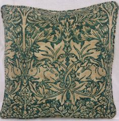 William Morris Brer Rabbit 203 Forest & Manilla Cushion Covers   16 x 16 & 16 x 12 are available.  The cushion covers are backed in a lovely