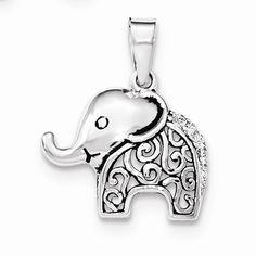 Sterling Silver Antiqued CZ Elephant Pendant