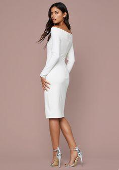 14517c36a9d bebe Tamara Off Shoulder Dress Off The Shoulder, Shoulder Dress, Peplum  Dress, White
