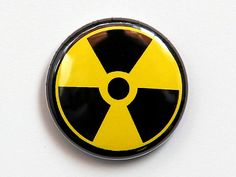 Radiation Symbol  Button Pinback Badge 1 inch by theangryrobot