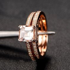 Limited Time Sale 1.50 carat Princess Cut Morganite and