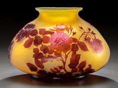 Art Glass:Galle, Large Gallé Overlay Glass Wild Rose Squat Vase. Circa 1900.Cameo Gallé. Ht. 7-3/4 x Di. 11-1/2 in.. FROM TH...