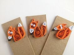 Quilled Bookmarks with Woodland Animals, fox, owl, hedgehog, squirrel, set of 4, mix and match,