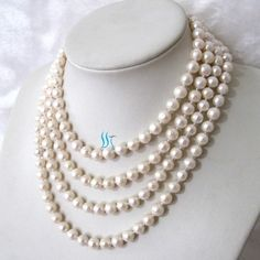 Pearl Jewelry  68 inch 8-9mm White Freshwater Pearl by PearlsStory