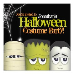 Spooky Monster Friends Halloween Costume Party Invitation