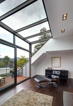 Lounge with glass dormer (glass dormer- Aufenthaltsraum mit Glasgaube (Glasgaube Lounge with glass dormer (glass dormer) / - Attic Renovation, Attic Remodel, Basement Renovations, Architecture Résidentielle, Casas Containers, Attic Window, Attic Ladder, Attic Staircase, Room Window