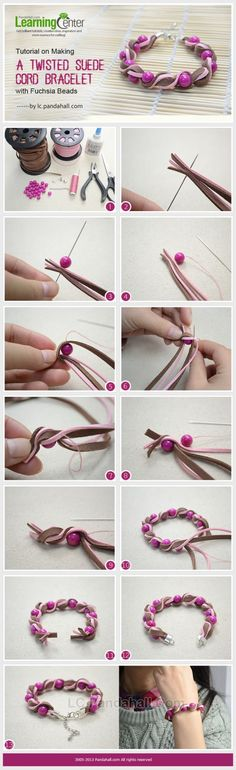 Tutorial on Making a Twisted Suede Cord Bracelet with Fuchsia Beads by Jersica