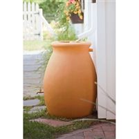 50 Gallon Rainwater Urn Style Rain Barrel with Spigot @ bestrainwatercollectionsystems.com