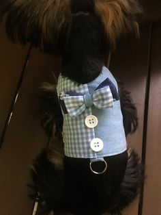 Handmade denim pet's clothing with matching blue checkers. Neatly sew and stitch for perfect look and durability. Handmade fabric bow attached on vest. Please measure your pet for perfect fit. Size chart is only a guideline. West Terrier, Cute Dog Clothes, Boy Dog, Dog Items, Pet Peeves, Dog Wear, Fitness Gifts, Dog Hacks, Fabric Bows