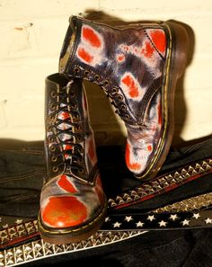 dr martens skull feet | Dr Martens Red White Blue to Gold Rub Off 8 Eye Leather Boots Skull ...