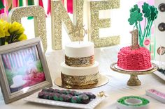 A St. Patrick's Day Birthday Party with gold, green and bright pink! Lots of sparkles and glitter make it a beautiful St. Pattie's first birthday party