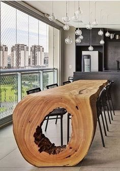 18 Unique Wood Table Ideas for Modern Designs 2019 – Page 18 of 18 Holzbearbeitung – Wall Hanging Dinning Table Design, Wooden Dining Tables, Esstisch Design, Deco Addict, Wood Design, Deco Design, Shape Design, Exterior Design, Luxury Homes