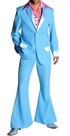 Colore azzurro Costume Anni 60, abito giacca pantaloni a zampa Pop stile originale 1964 replica diventato moda simbolo fino agli anni 70 Hippy Costumi Mytos Anni 60-70 Completo con colletto rever patelle tasche e polsi in raso lucido Polyestere 100%
