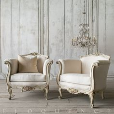 Lovely pair of vintage Louis XV style vintage armchairs finished in pale cream that is cracked and distressed to reveal bare wood. Upholstered in a white duct canvas with cotton trim. Pretty acanthus leaf motifs adorn the crest, apron and arms. French Furniture, Classic Furniture, Shabby Chic Furniture, Living Room Furniture, Living Room Decor, Sofa Design, Furniture Design, Interior Design, French Decor