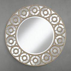 "Vails Silver Circles 34 3/4"" Round Wall Mirror"