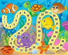 Illustration about Board game image with underwater theme 1 - vector illustration. Illustration of anemonefish, vectors, fish - 51358209 Board Game Template, Printable Board Games, Printable Numbers, Preschool Board Games, Abc Activities, Board Game Themes, Shapes For Kids, Games Images, Game Concept