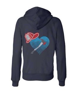 Women's Zip Up Hoodie Sweatshirt - Firefighter Hemet w/Heart on Etsy, $38.00