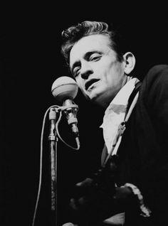 Johnny Cash at the Newport Folk Festival.