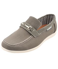 """Akademiks Boys """"Mark"""" Loafers (Youth Sizes  11 – 3) $14.99  These loafers from Akademiks are so crisp and comfy, he'll want to stop wearing his favorite sneakers. They feature a convenient slip-on design, sporty driving loafer sole, and a linked metal charm at the front. The gridded upper pairs with a canvas interior."""
