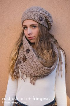 Crochet Scarf Patterns Rustic Slouch Crochet Hat and Infinity Scarf Patterns by Little Monkey Crochet - © Photography by Kindred Photo Crochet Slouchy Hat, Bag Crochet, Crochet Scarves, Crochet Crafts, Crochet Clothes, Free Crochet, Knitted Hats, Slouch Hats, Free Knitting
