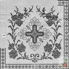 Gallery.ru / Фото #165 - Вышивки-нравятся-4 - dilar57 Blackwork Embroidery, Embroidery Patterns, Crochet Patterns, Filet Crochet Charts, Crochet Borders, Cross Stitch Designs, Cross Stitch Patterns, Religious Cross, Crochet Projects