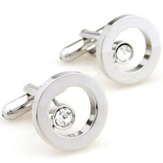 Romance silver circle with white crystal cufflinks