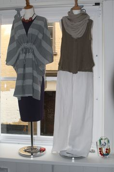 A mix of colour and neutrals. We have the purple Rundholz dress under Oska Berta tunic and the white linen Oska trousers are a great summer essential teamed with a cannisse top and scarf.
