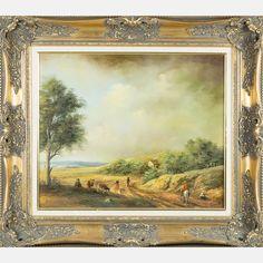 LOT 52 A. DE ANGELISA. De Angelis, (20th Century) - Pastoral Scene, Medium: Oil on canvas, Dimensions: H: 20 1/2 W: 24 1/2 Est: $300-500 Framed dimensions: h: 30 x w: 33 1/4 in. Signature Signed lower left.