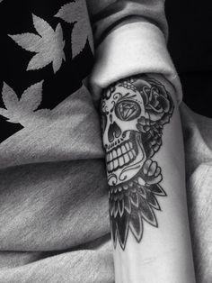 #Tattoo #owl #Tattoos #head #skull #ink #boy #mine #blackandwhite