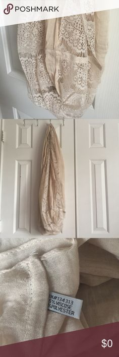 """Boutique Cream Lace Infinity Scarf Measures approx 34"""" long. NEW condition. Comes from smoke free home. Thanks for stopping by! Please ask all questions before buying. Shop.Bundle.Save.Like.Share! Accessories Scarves & Wraps"""