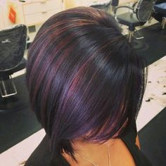 50 Black Cherry Hair Color Ideas for the Sweet & Sour Haircut And Color, Hair Color And Cut, Black Cherry Hair Color, Dark Hair With Purple, Hair Colors For Fall, Dark Plum Hair, Black Hair, Great Hair, Fall Hair