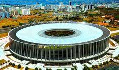 7- Estadio Nacional Mane Garrincha de Brasilia, capital y sede del gobierno de Brasil, el estadio se inauguró en 1974 y un aforo de 70.064 personas.